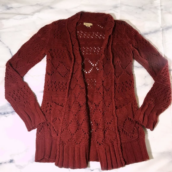 250f143fe42f1e Lucky Brand Sweaters - Lucky Brand Burgundy Open Front Knit Cardigan